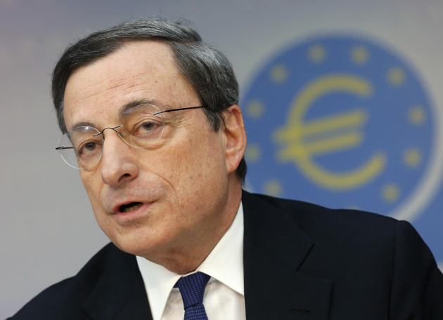 President of European Central Bank Mario Draghi speaks during a news conference in Frankfurt, Germany, Thursday, March 6, 2014, following a meeting of the ECB governing council. The European Central B