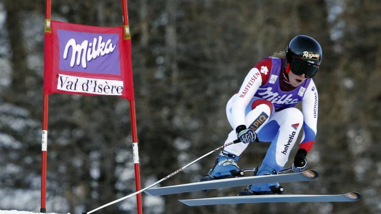 Switzerland's Gut skis during the Women's World Cup Downhill skiing race in Val d'Isere