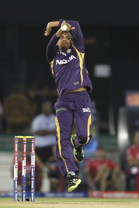 Sunil Narine of Kolkata Knight Riders sends down a delivery during match 44 of the Pepsi Indian Premier League between The Delhi Daredevils and the Kolkata Knight Riders held at the Chhattisgarh Inter