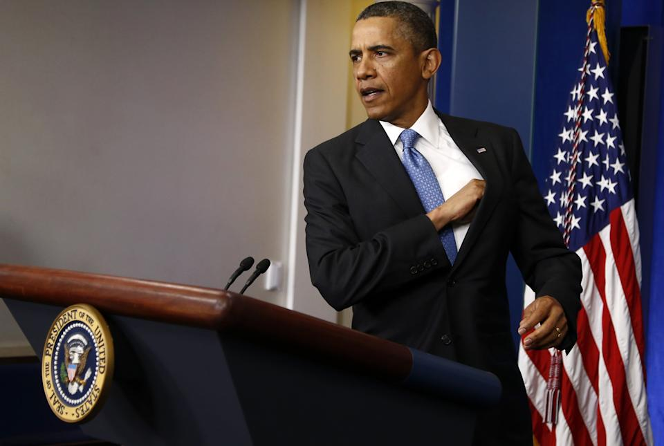 President Barack Obama arrives for a news conference in the Brady Press Briefing Room of the White House in Washington, Tuesday, April 30, 2013. (AP Photo/Charles Dharapak)