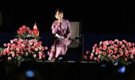 Myanmar&#39;s opposition leader Aung San Suu Kyi speaks in Los Angeles, California on October 2, 2012. Suu Kyi was greeted by thousands of supporters as she arrived back in Myanmar Thursday after a triumphant trip to the United States where she was also given a hero&#39;s welcome