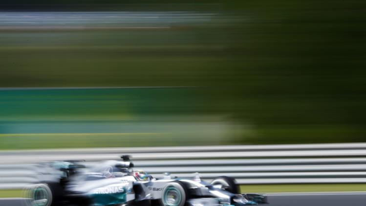 Mercedes Formula One driver Hamilton of Britain drives during the first practice session of the Hungarian F1 Grand Prix at the Hungaroring circuit