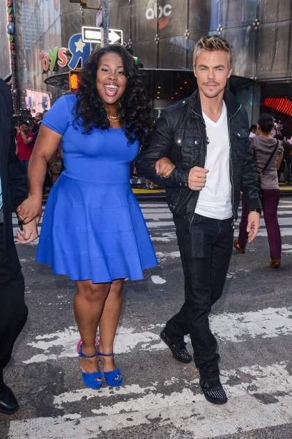 Amber Riley and Derek Hough leave the 'Good Morning America' taping at the ABC Times Square Studios on September 4, 2013 in New York City -- Getty Images