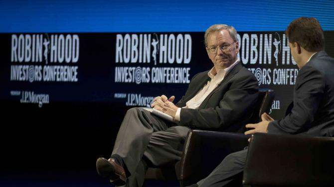 Eric E. Schmidt and Joe Lonsdale speak at the 2014 Robin Hood Investors Conference in New York