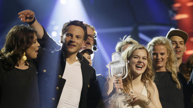 Winner of the 2013 Eurovision Song Contest Emmelie de Forest of Denmark who sang Only Teardrops, celebrates with the trophy after the final at the Malmo Arena in Malmo, Sweden, Saturday, May 18, 2013. The contest is run by European television broadcasters with the event being held in Sweden as they won the competition in 2012. (AP Photo/Alastair Grant)