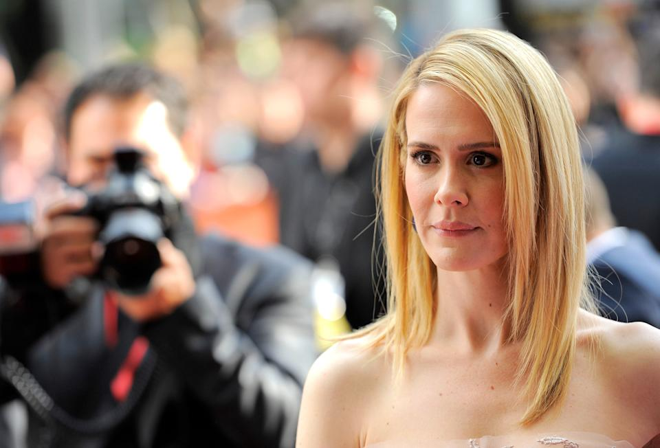 "Sarah Paulson arrives at the premiere for ""12 Years a Slave"" on day 2 of the Toronto International Film Festival at The Princess of Wales Theatre on Friday, Sept. 6, 2013, in Toronto. (Photo by Chris Pizzelloi/Invision/AP)"