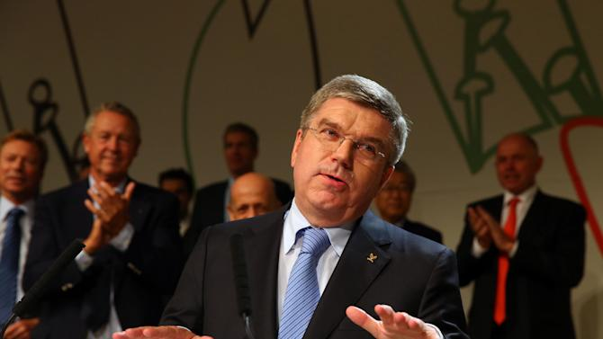 Thomas Bach, of Germany, speaks after being elected the new IOC president during the 125th IOC session in Buenos Aires, Argentina, Tuesday, Sept. 10, 2013. (AP Photo/Alexander Hassenstein, Pool)