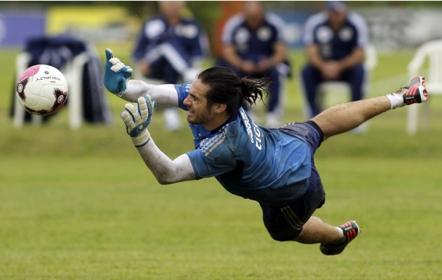 Paraguay's national soccer team goalkeeper Antony Silva takes part in a training session in Ypane