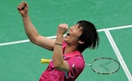 Wan Ho Shon of Korea reacts after defeating Malaysian badminton player Lee Chong Wei during their Men's Singles Final match of the Yonex-Sunrise India Open 2012 at the Siri Fort Sports Complex in New Delhi on April 29, 2012. Ho won 21-18, 14-21, 21-19