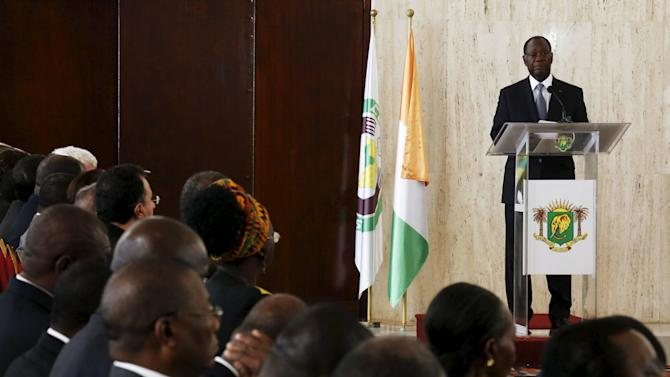 Ivory Coast's President and presidential candidate Alassane Ouattara of the Rally of the Houphouetists for Democracy and Peace (RHDP) speaks after the signing of a 'code of conduct' at the Presidential Palace in Abidjan