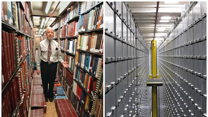 "This combination of Associated Press file photos shows Steven Herman, left, head of the Library of Congress storage facility, at the Library of Congress in 2003, in Washington,  and left, a ""bookBot"", an automated retrieval system at the James B. Hunt Jr. Library at North Carolina State University in 2013, in Raleigh, N.C. Many middle-class workers have lost jobs because powerful software and computerized machines are doing tasks that only humans could do before. (AP Photo)"