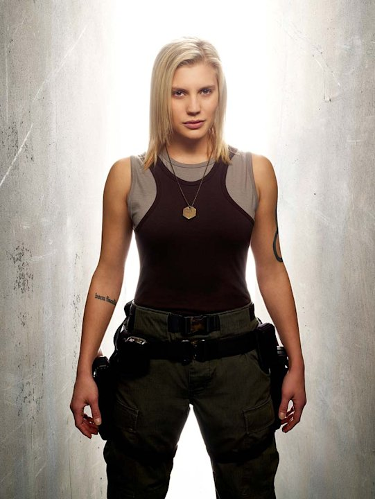"Katee Sackhoff as Kara ""Starbuck"" Thrace in Battlestar Galactica on the Sci Fi Channel."