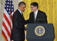 US President Barack Obama shakes hands with White House chief of staff Jack Lew after nominating him to be the next treasury secretary on January 10, 2013 in Washington, DC. Lew was confirmed as treasury secretary Wednesday, taking over a key portfolio at a time of deadlock over the budget and debt