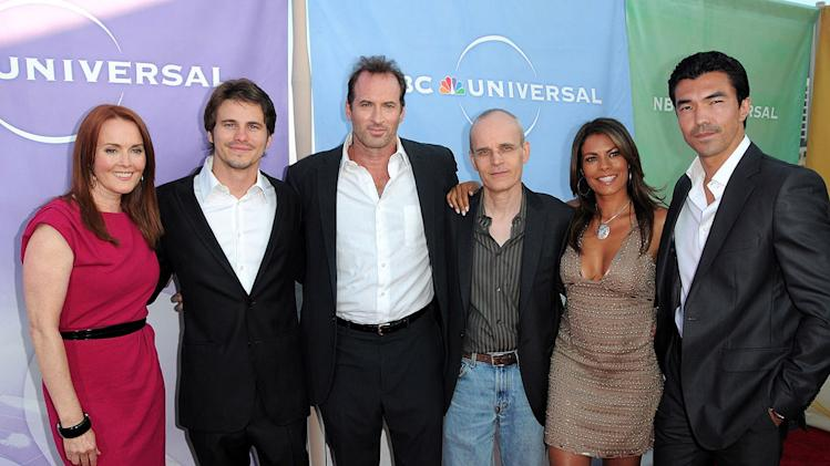 """The Event's"" Laura Innes, Jason Ritter, Scott Patterson, Zeljko Ivanek, Lisa Vidal, and Ian Anthony Dale arrive at NBC Universal's 2010 TCA Summer Party on July 30, 2010 in Beverly Hills, California."