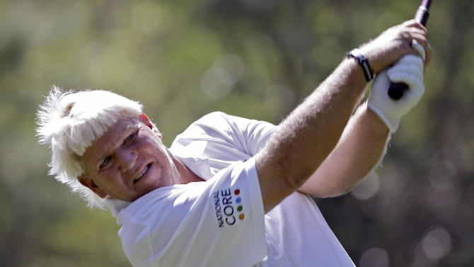 FILE - In this Wednesday, March 11, 2015 file photo, John Daly hits his tee shot on the ninth hole during the pro-am round for the Valspar Championship at Innisbrook in Palm Harbor, Fla. John Daly collapsed near the end of a round of golf Saturday, Aug. 29, 2015 and was taken by ambulance to a hospital. The 49-year-old Daly was playing in a small, local tournament at Deerfield Golf Club in Jackson's northern suburbs. (AP Photo/Chris O'Meara, File)