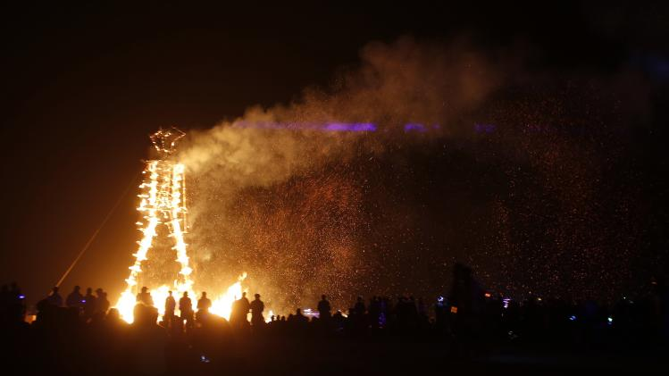 "The Man burns during the Burning Man 2014 ""Caravansary"" arts and music festival in the Black Rock Desert of Nevada"
