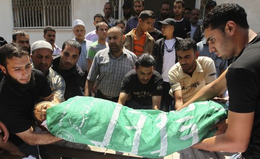 Palestinians carry the body of a boy during his funeral in Gaza