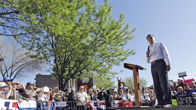 Republican presidential candidate, former Massachusetts Gov. Mitt Romney speaks in Craig, Colo., Tuesday, May 29, 2012.  (AP Photo/Mary Altaffer)