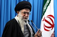 Iran&#39;s supreme leader Ayatollah Ali Khamenei, seen here n February 2012, has said Tehran can overcome &quot;barbaric&quot; economic sanctions imposed by Western countries over its controversial nuclear programme