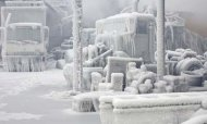 Chicago Warehouse Covered In Ice After Fire