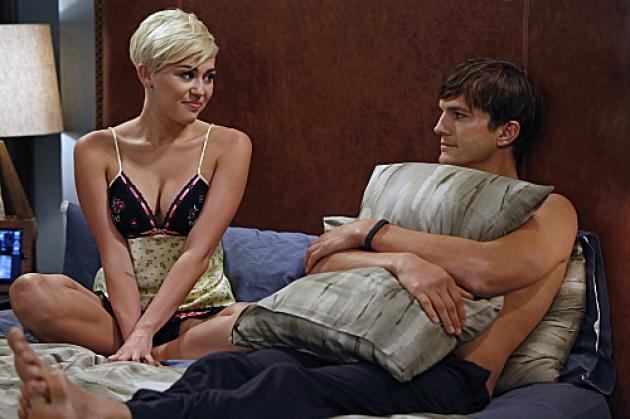 Miley Cyrus as Missi and Ashton Kutcher As Walden S. Schmidt in 'Two and a Half Men,' Oct. 2012 -- CBS