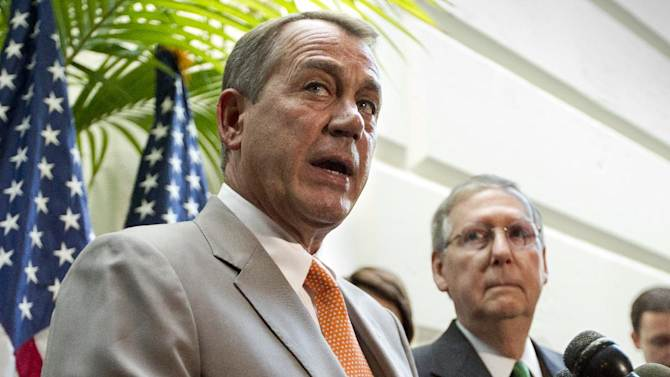 FILE - In this June 6, 2012, House Speaker John Boehner of Ohio, accompanied by Senate Minority Leader Mitch McConnell of Ky., right, gestures during a news conference on Capitol Hill in Washington. President Barack Obama had a clear political edge in his fight with Republicans over the fiscal cliff, and used it to his advantage. In the upcoming battle over federal borrowing and spending, the leverage will be more evenly divided and the outcome less predictable. In the fiscal cliff fight, Obama wanted to block automatic New Year's Day tax increases on everyone but the country's highest earners. Republicans were trying to protect upper-income people from those tax hikes, but eventually gave in because they didn't want to be blamed for the higher middle-class taxes that a stalemate would have triggered. Next come three deadlines that will almost certainly become entwined. The government will run out of cash in about two months and the Obama administration will need congressional approval to borrow more money or face a first-ever federal default, threatening global, economy-rattling consequences. Boehner and McConnell have said they won't agree to a debt-limit extension without an accord to cut spending. Just as adamantly, Obama says the government's debt ceiling must be raised and he won't negotiate over it, though he says he would bargain over spending cuts and tax increases to reduce federal deficits. (AP Photo/J. Scott Applewhite, File)