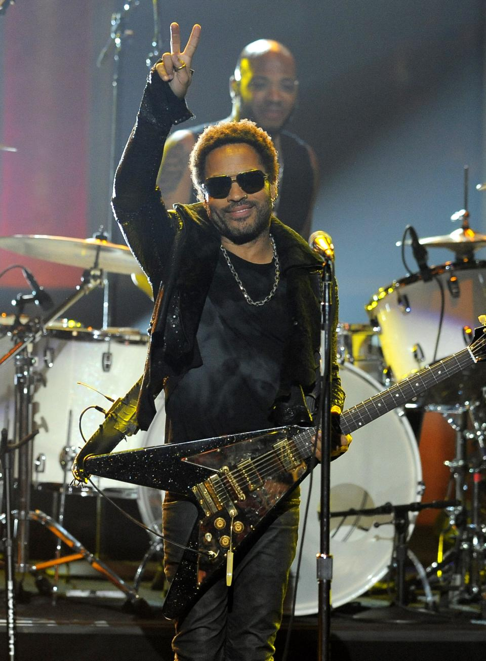 Lenny Kravitz performs at the 43rd NAACP Image Awards on Friday, Feb. 17, 2012, in Los Angeles. (AP Photo/Chris Pizzello)