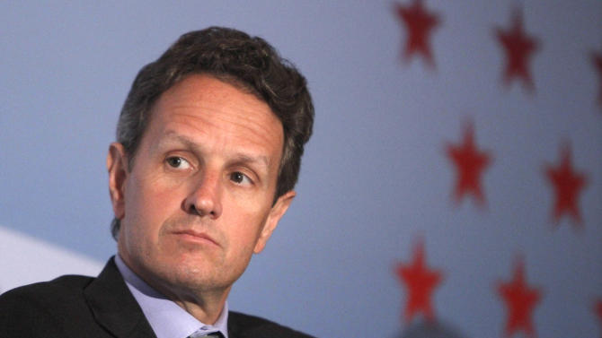 Treasury Secretary Timothy Geithner listens at a forum hosted by the Confederation of Indian Industry (CII) and the Brookings Institution, Monday, June 27, 2011, in Washington. (AP Photo/Jacquelyn Martin)
