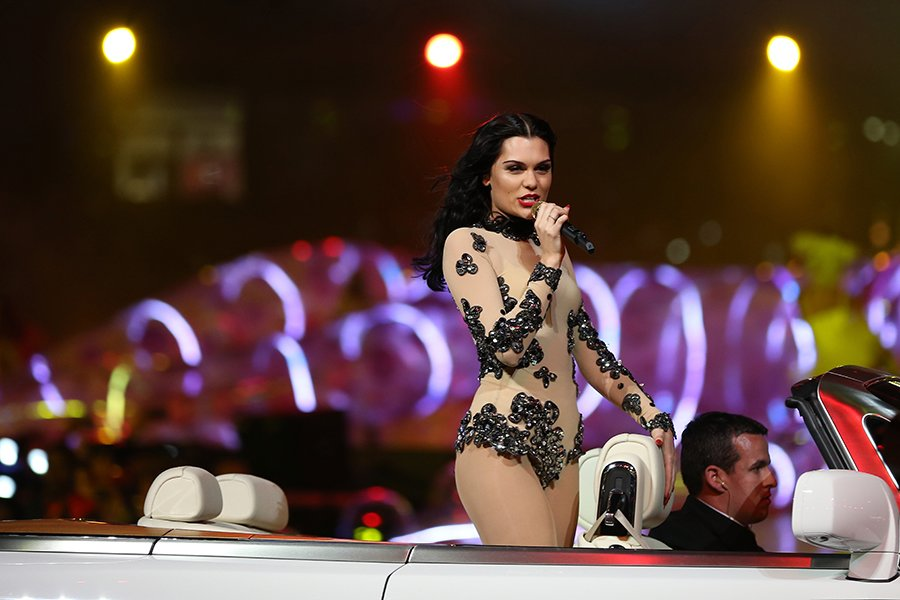 Jessie J left little (or a lot, depending on how you look at it) to the imagination in a nude Vivienne Westwood jumpsuit with flower detailing. (Hannah Johnston/Getty)