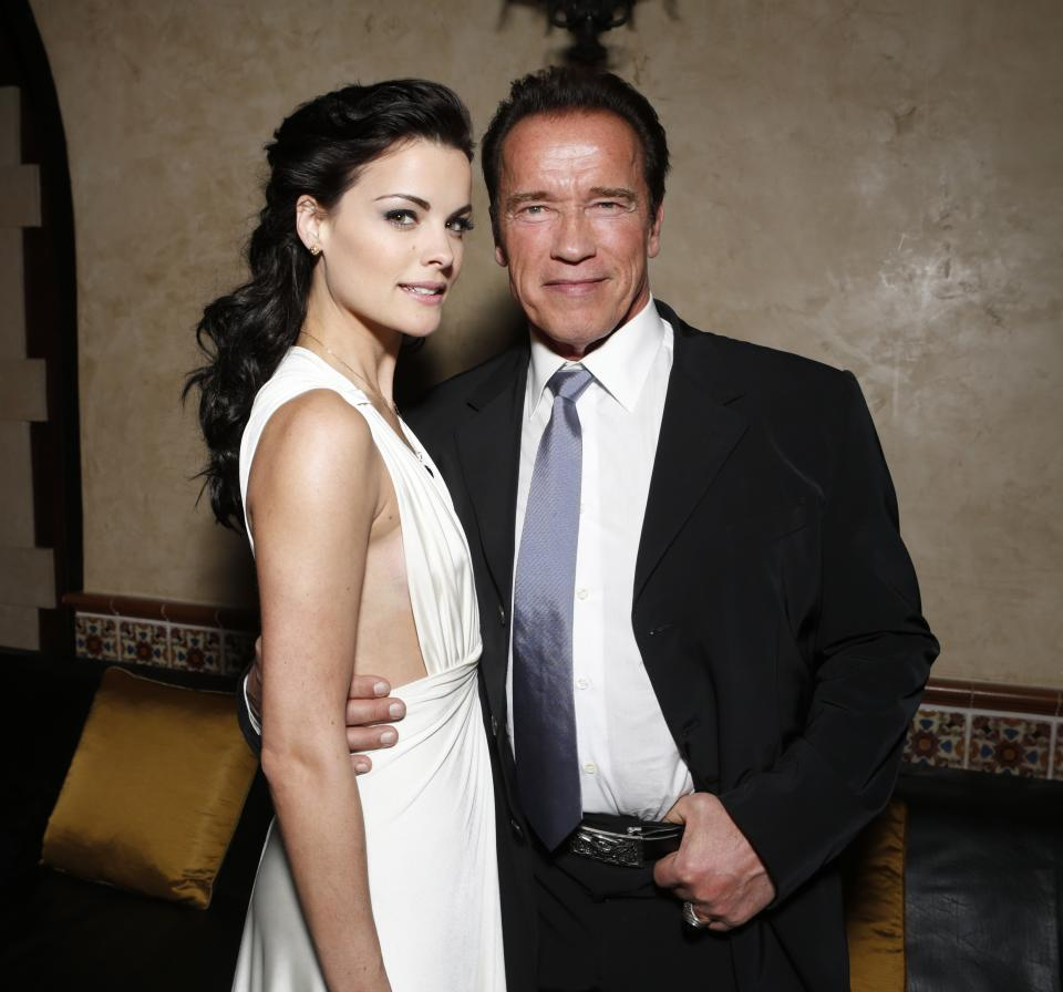 "FILE - in this Jan. 14, 2013 photo, Jaimie Alexander, left, and Arnold Schwarzenegger attend the after party for the LA premiere of ""The Last Stand"" at Grauman's Chinese Theatre, in Los Angeles. (Photo by Todd Williamson/Invision/AP, File)"