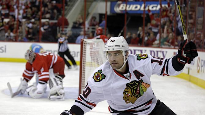 Sharp, Blackhawks beat Carolina 3-2 in shootout