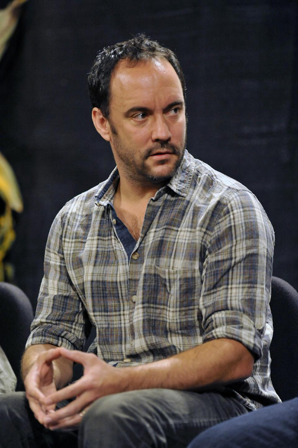 Dave Matthews attends a news conference prior to the start of the Farm Aid 2013 concert at Saratoga Performing Arts Center in Saratoga Springs, N.Y., Saturday, Sept. 21, 2013. (AP Photo/Hans Pennink)