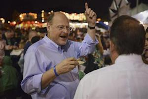 New York City mayoral candidate Lhota speaks to people attending Greek Festival while campaigning in Staten Island borough of New York