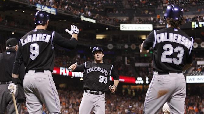 Rockies score 5 in ninth to edge Giants