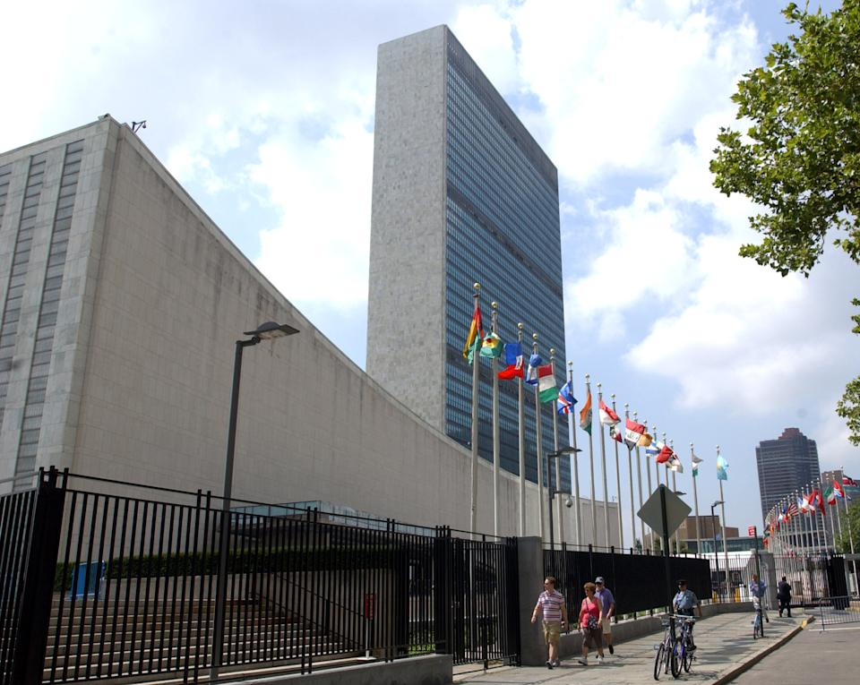 FILE - This July 27, 2007 file photo shows the United Nations headquarters building, designed by Brazilian architect Oscar Niemeyer, in New York. According to a hospital spokeswoman on Wednesday, Dec. 5, 2012, famed Brazilian architect Oscar Niemeyer has died at age 104.(AP Photo/Osamu Honda, File)