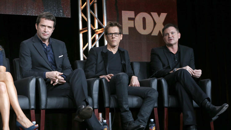 "James Purefoy, Kevin Bacon and Executive Producer/Creator Kevin Williamson from ""The Following"" attend the Fox Winter TCA Tour at the Langham Huntington Hotel on Monday, Jan. 7, 2013, in Pasadena, Calif. (Photo by Todd Williamson/Invision/AP)"