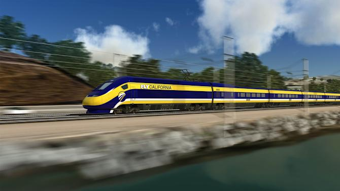 FILE -This undated file photo provided by the California High Speed Rail Authority shows an artist's rendering of a high-speed train traveling along the California coast. A new poll finds California voters are experiencing buyers' remorse over a proposed $68-billion bullet train project. The USC Dornsife/Los Angeles Times survey finds 55 percent of voters want the ambitious high-speed rail bond issue that was approved in 2008 placed back on the ballot — and 59 percent say they now would vote against it. (AP Photo/California High Speed Rail Authority)