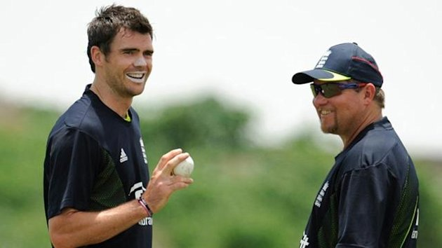 James Anderson talks to England bowling coach David Saker