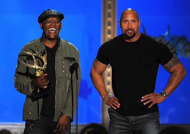 2010 Guys Choice Awards Samuel L Jackson Dwayne Johnson