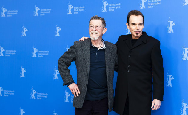From left actor Jihn Hurt and director Billy Bob Thornton, pose for the photo call of the film Jayne Mansfield's Car at the 62 edition of the Berlinale, International Film Festival in Berlin Monday, Feb. 13, 2012. (AP Photo/Markus Schreiber)