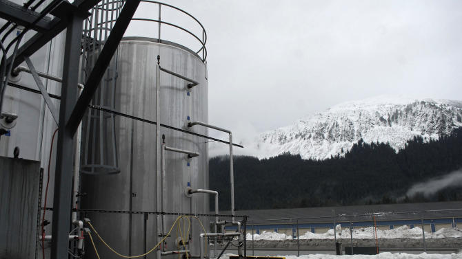 In this photo taken Jan 23, 2013, in Juneau, Alaska, is the outside of the Alaskan Brewing Co. The brewery has installed a unique boiler system that burns the company's dried, spent grain or waste accumulated by the brewing process into steam which powers the majority of the plant's operations. (AP Photo/Joshua Berlinger)