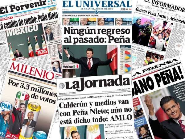 La prensa mexicana destaca el regreso del PRI con el triunfo de Pea Nieto