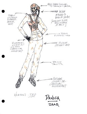 Concept sketch for vampire leader Danica Talos ( Parker Posey ) in desert mode in New Line's Blade: Trinity