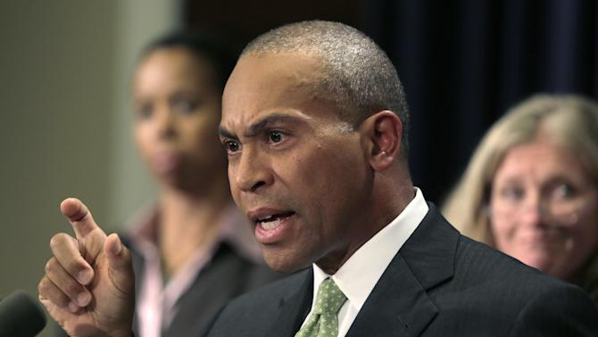 Mass. Gov. Deval Patrick gestures during a news conference regarding the Massachusetts pharmacy responsible for the meningitis outbreak during a news conference at the Statehouse in Boston, Tuesday, Oct. 23, 2012. The outbreak of meningitis, an inflammation of the lining of the brain and spinal cord, has sickened nearly 300 people, including 23 who died, in more than a dozen states. (AP Photo/Charles Krupa)