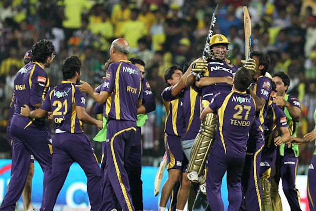 Kolkata Knight Riders team celebrate the
