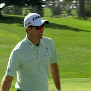 Justin Rose holes out from greenside bunker at AT&T Pebble Beach