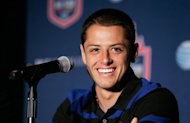 "Javier ""Chicharito"" Hernandez, who plays for Britain's Manchester United, at a press conference in New York City in July 2011. The Mexican footballer has been named a UN Children's Fund (UNICEF) ambassador"
