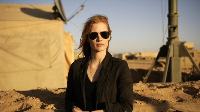 "This undated publicity film image provided by Columbia Pictures shows Jessica Chastain in a scene from ""Zero Dark Thirty."" (AP Photo/Sony - Columbia Pictures, Jonathan Olley)"