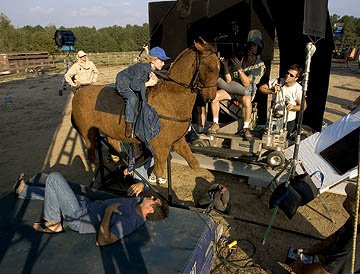 Dakota Fanning on a mechanical horse on the set of DreamWorks Pictures' Dreamer: Inspired by a True Story