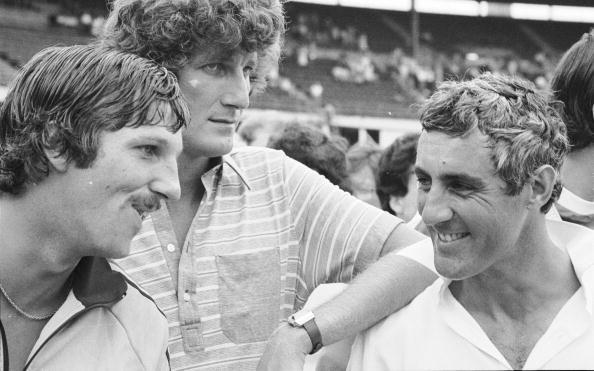 14 Feb 1979:  (left to right) Ian Botham, Bob Willis and Mike Brearley after England's 5-1 series victory over Australia at the Sydney Cricket Ground in Sydney, Australia.   \ Mandatory Credit